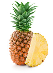 pineapple with slice isolated on the white background