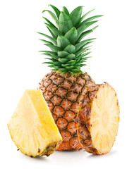 pineapple with slices isolated on the white background