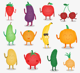 Cartoon fruits and vegetables. Funny food concept. Organic food. Vector