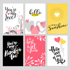 Set of Valentine day greeting cards. Flat design vector illustrations for love messages, social media banners and covers, website badges and banners, printed material.