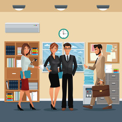 staff office working scene furniture cabinet cooler water clock vector illustration eps 10