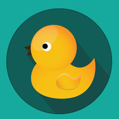 Baby, kids toy. Classic yellow rubber duck for bath. Vector icon with long shadow.