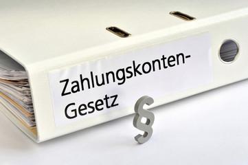 Zahlungskonten-Gesetz, ZKG, Jedermann-Konto, Bankkonto, Girokonto, Basiskonto, Paragraf, Pfändungsschutz, Recht, Ordner, Guthabenkonto, Zahlungskonten-Richtlinie, Bankwesen, Schufa
