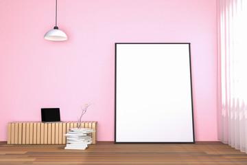 3d rendering : illustration of white mock up frame. hipster background. mock up white poster or picture frame. living room interior.