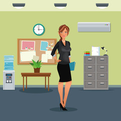 woman workplace table potted plant cabinet file clock water dispenser vector illustration