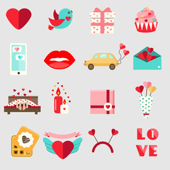 St Valentine's day icons. Set of colorful flat romantic, love holidays symbols. Honeymoon, wedding icons