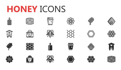 bee and honey icon set. editable vector file.