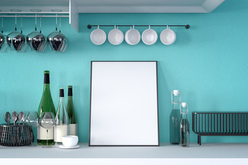 3d rendering : illustration of white mock up frame. hipster background. mock up white poster or picture frame.kitchen room interior.