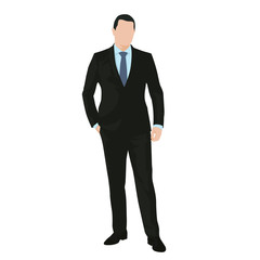 Business man standing in dark suit with hand in his pocket, isol