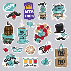 Set of funny stickers for social network. Everyday stickers for mobile messages, chat, social media, online communication, networking, web design.