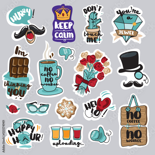 The Social Network How Everyday >> Set Of Funny Stickers For Social Network Everyday Stickers For