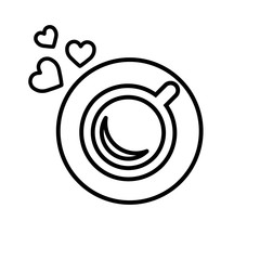 cup of coffee tea with hearts steam line icon  black on white