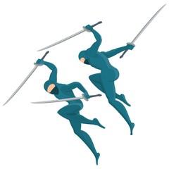 ninja with swords