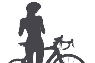 Silhouette of woman with a bicycle, isolated on a white