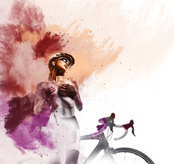 Woman with a bicycle. Watercolor. Digital art