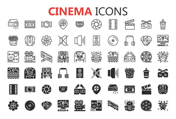 Simple Set of Cinema Related Vector Line Icons. 