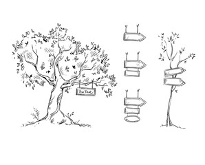 Tree with sign, hand drawn signs, vector illustration