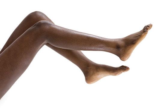 Perfect female black skin legs up