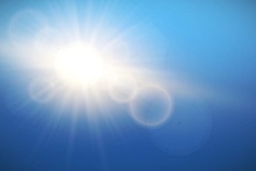 Sun with lens flare on blue sky, vector.