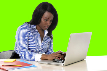 attractive and efficient black ethnicity woman at office isolated green chroma key screen