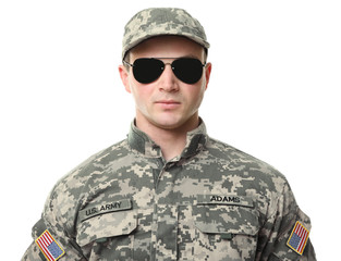 Soldier with sunglasses on white background