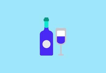 Vector flat alcohol drink symbol icon