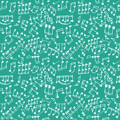 Seamless musical notes pattern.  Seamless doodle composition pattern. Seamfree vector musical notes background.