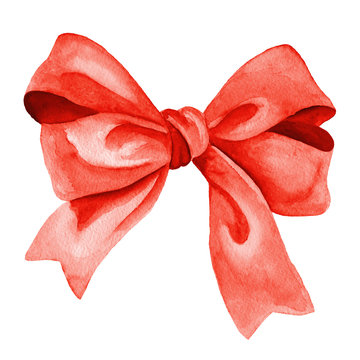 Gift bow. Watercolor illustration