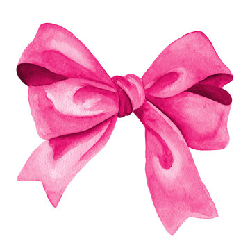 Pink Gift bow. Watercolor illustration