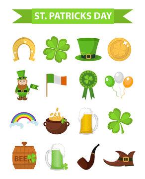 St. Patricks Day icon set design element. Traditional irish symbols in modern flat style. Isolated on white background. Vector illustration, clip art