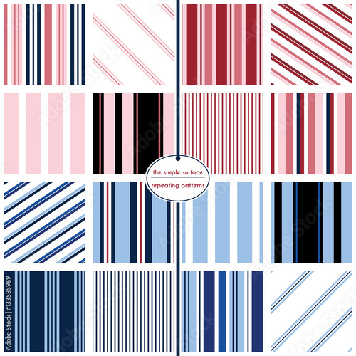 A variety of sixteen colorful stripe repeating patterns all