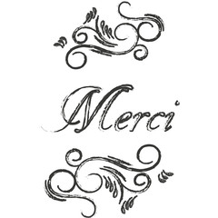 Merci postcard. Hand drawn greeting card. Ink illustration. Modern brush calligraphy. Thank you in French