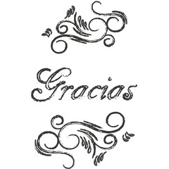 Gracios postcard. Hand drawn greeting card. Ink illustration. Modern brush calligraphy. Thank you in Spanish.