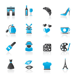 France culture and industry icons  - vector icon set