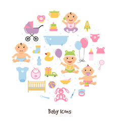 Vector baby icons set and funny cute sitting babies