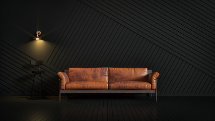 Brown leather couch in a dark room looking stylish.
