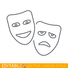 Theater masks symbol. Editable line icon. Stock vector illustration.