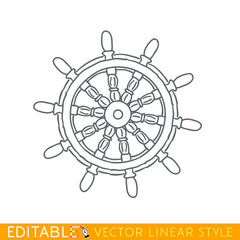 Boat steering wheel. Editable line icon. Stock vector illustration.