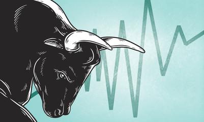 Bull Market Artwork Icon Business Concept