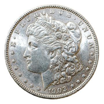 1903 Morgan Dollar silver coin, obverse.