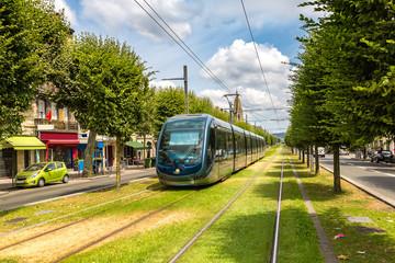 Modern city tram in Bordeaux