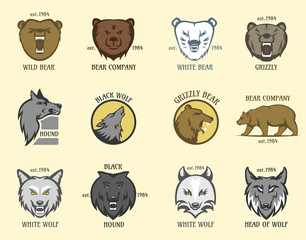 Bear and wolf head animal badge vector illustration.