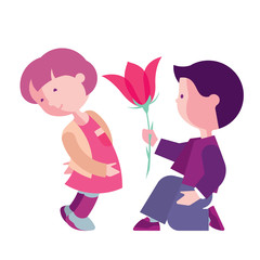 Boy congratulates girl, Card for Valentine's Day, boy with girl illustration, love and friendship