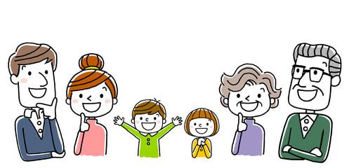3世代家族:笑顔で上を見上げる、思い浮かべる、考える