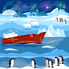 Travel to Antarctic and Arctic. Ice breaker, penguins