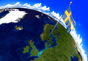 Sweden national flag marking the country location on world map. 3D rendering, parts of this image furnished by NASA