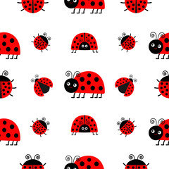 Ladybug Ladybird icon set. Baby collection. Funny insect. Seamless Pattern Wrapping paper, textile template. White background. Flat design.