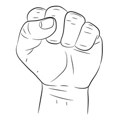 clenched fist on white background of vector illustrations