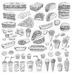 Big vector set, fast food. Sketch style. Hamburger taco burrito chicken potato fries sandwich, coffee, lemonade, ice cream, hot dog, ketchup, mustard, soda, beer. Hand drawn design elements