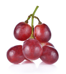 Red grapes on white